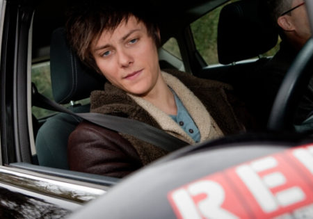 Tyger Drew driving RED car