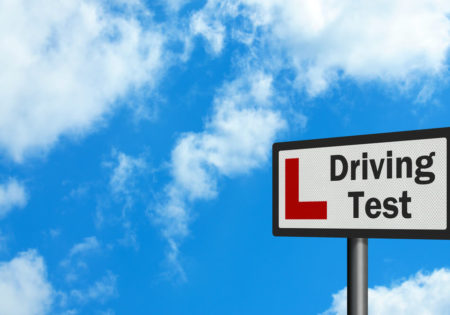 L Driving test road sign