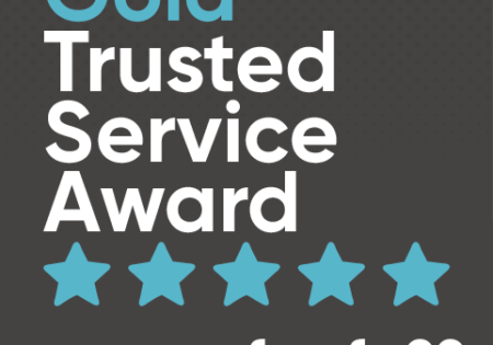 Blue Feefo gold trusted service award