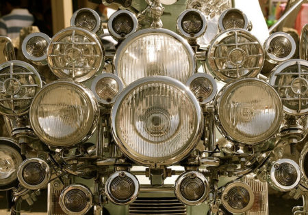 A group of car headlights