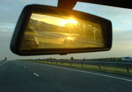 sun glare in a rear view mirror