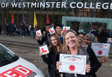city of westminster college students hodling LPlates