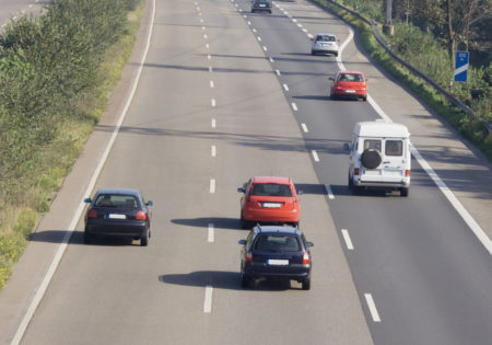 tailgating on a three-lane autobahn