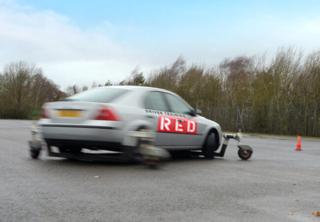 Skid control car driving in action