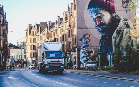 lorry driving through city