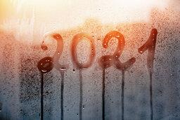 2021 written on a wet window