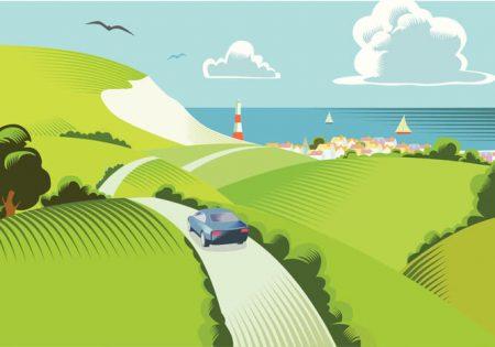 spring driving illustration
